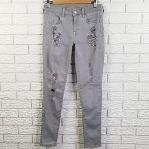 American Eagle Destructed Jegging Jeans 6 Gray